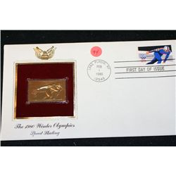 1980 First Day of Issue 22K Gold Replica Stamp W/Postal Stamp; The 1980 Winter Olympics Speed Skatin