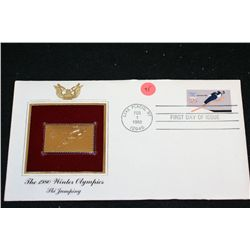 1980 First Day of Issue 22K Gold Replica Stamp W/Postal Stamp; The 1980 Winter Olympics Ski Jumping