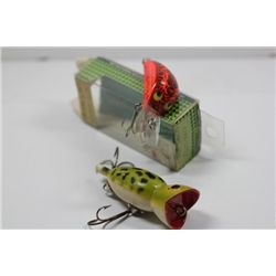 "2 3/4""Green/Black/Red Hula Popper & Heddon 1/4OZ. Head Hunter w/Box"