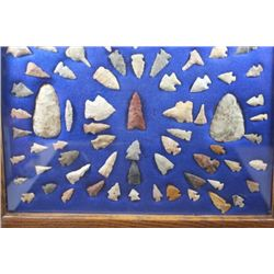 Frame of 65 Bird points, Silver Creek, Illinois