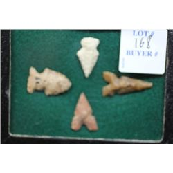 4 Small Cahokia points, Woodriver, Illinois