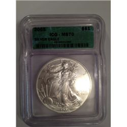 2005 MS-70 SILVER EAGLE, HIGHEST POSSIBLE GRADE