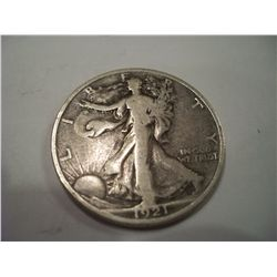 RARE 1921-D Walking Liberty Half Dollar, F