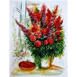 "Chagall ""Bouquet W/A Bowl  Of Cherries"" Ltd Edition Litho, W/COA, 33""x24"""