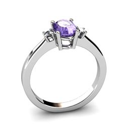 Tanzanite 0.89ctwDiamond Ring14kt White Gold