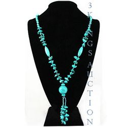 Natural 410.06ctw Turquoise Sterling Silver Necklace