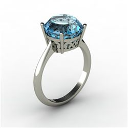 Topaz 5.75 ctw Ring 14kt White Gold