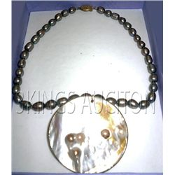Freshwater Pearl With Capiz Pendant Necklace Philippine
