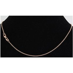 "Pure Gold 16"" 14k Rose Gold 1.7mm Oval Link Chain"