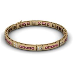 Garnet 2.96 ctw & Diamond Bracelet 14kt W OR Y Gold