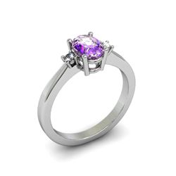Amethyst 0.45 ctw Diamond Ring 14kt White Gold