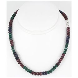 230.53ctw Natural Multi-Color Rondelles Necklace
