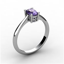 Tanzanite 0.48 ctw Ring 14kt White Gold