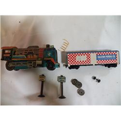 Tin Friction Engine (Train) with some accessories