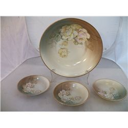 Hand Painted Royal Munich-Z.S. & Ci Bavaria Large Berry Bowl with 3 small berry bowls  Soft White &