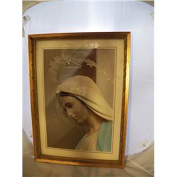 "Vintage Picture of Mary 13""wide x 19""Tall"