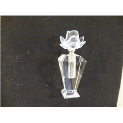 "Crystal Glass Perfume Bottle Prefume Bottle with Rose Cut Lid 2 1/2"" x 7"""
