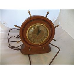 "Seth Thomas Electric Clock Ships Wheel Alarm Clock (works) 8"" x 8"""