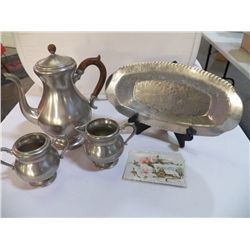 Royal Holland Pewter Coffee Pot with /creamer & sugar, 1 aluminum bread tray