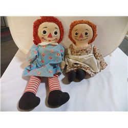 "Pair of Ragged Ann Dolls approx 20"" & 16"""