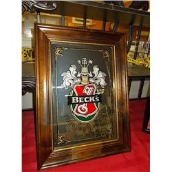 "Vintage Becks Beer Product of Germany Bar Mirror Sign in Wooden Frame approx 23"" x  17"""