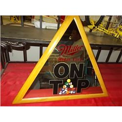 """Miller High Life """"ON TAP"""" Pool Balls in Rack approx 20"""" Triangle"""