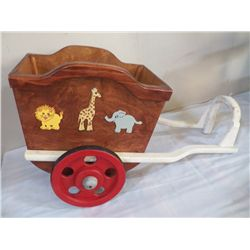 "Handmade Wooden Wagon (toy box) Hand Made Toy Box 34"" overall lenght x 13  3/4"" Wide x 19 1/2"" Tall"