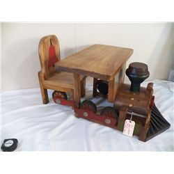 """Train Desk & Chair Vintage Handcrafted made in the early 60's Train 29"""" Long x 24"""" Wide x 18"""" Tall C"""