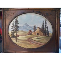 "Vintage Oil On Canvas Old Barn by Reiselt Vintage Wood Framed approx 25"" x 21"""