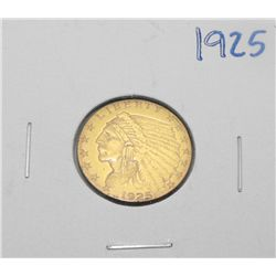 1925  $ 2.5 Gold Indian Coin XF-AU Grade
