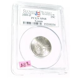 2009-P *GUAM* Territory Quarter RED BOOK VALUE IS $35.00 *CERTIFIED BY PCGS SATIN FINISH SP68*!!