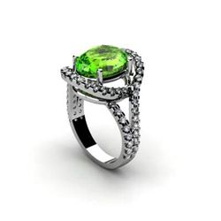 Peridot 4.63 ctw & Diamond Ring 18kt W/Y Gold