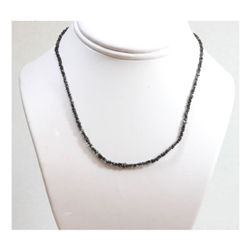 Natural 16.0 ctw Un-cut Diamond Black Bead Necklace