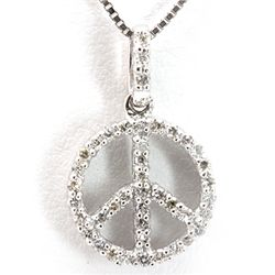 Genuine 0.16 ctw Diamond Peace Sign Necklace 14K