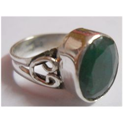 Natural 19.30 ctw Emerald Oval Ring .925 Sterling