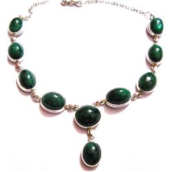 Natural 165 CTW. Emerald .925 Sterling Silver Necklace