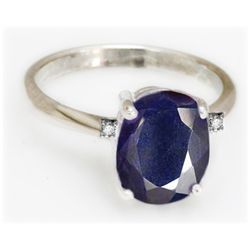 Natural 3 ctw Sapphire 14k White Gold .05ct Diamond