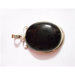 Natural 53.65 ctw Black Onex Pendant .925 Sterling