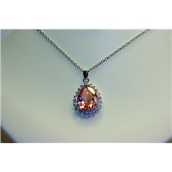 Lady's Beautiful Sterling Pink &amp; White Sapphire Necklace