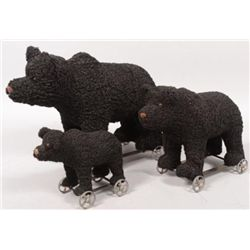 ET0503120168 Three Graduated Toy Black Bear Pull Toys.