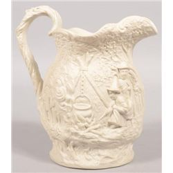 ET0503120173 White Parian Pitcher. Relief design on bod