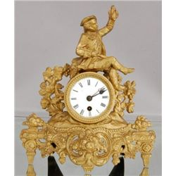 ET0503120183 French Figural Spelter Mantel Clock Hunti