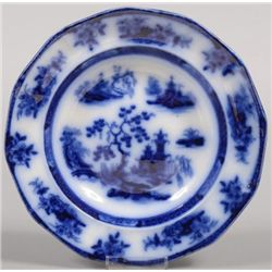 ET0503120172 Flow Blue Ironstone Soup Plate. Twelve sid