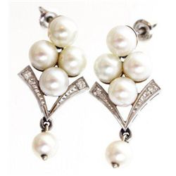 ET0503120057 14K WHITE GOLD PEARL EARRINGS W/DIAMOND AC