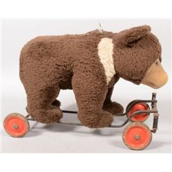 ET0503120167 Plush Ride able Toy Brown Bear on Wheels.