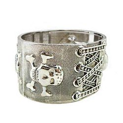 GT0522120020 Stylish Silver Skull & Crossbones Bangle/C