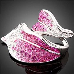 GT0522120032 Pretty Pink & Clear Crystal Silver Leaf De