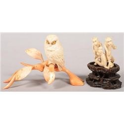 ET0503120169 Two Carved Ivory Animals. An owl seated on