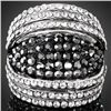 GT0522120029 Stunning Black & Clear Crystal Silver Ring