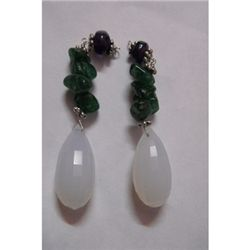 Natural 59.60ct Emerald ,Semi Precious Earring .925 Ste